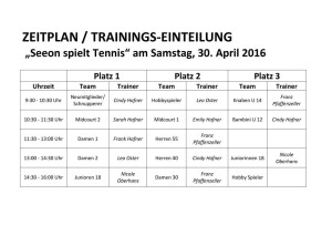Trainingstag 30 April